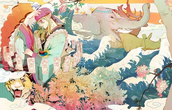 Wallpaper water flowers tiger animals elephant art - Mononoke anime wallpaper ...