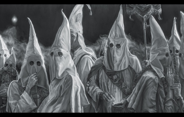 Picture reality, parody, Artist Vincent Valdez, Paints, The Ku Klux Klan, panoramic