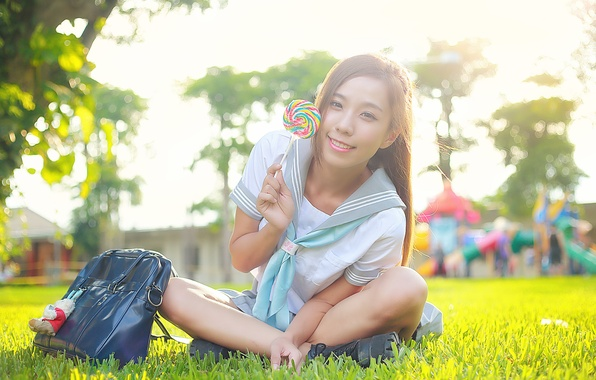 Picture summer, grass, girl, joy, face, smile, hair, the sweetness