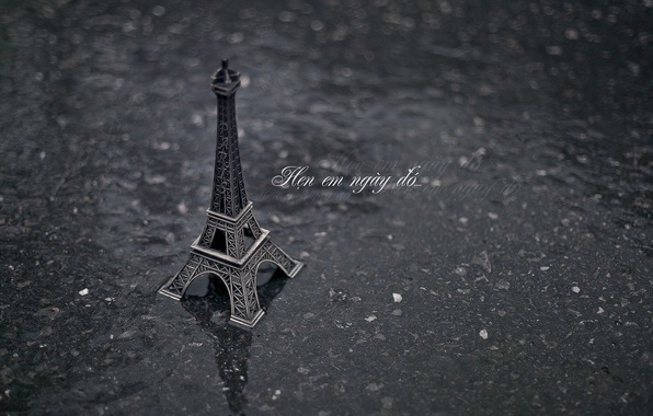 Picture asphalt, water, background, rain, earth, Wallpaper, mood, Eiffel tower, Paris, France