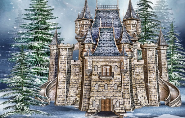 Picture photo, Winter, Snow, Castle, Spruce, Stone, 3D Graphics