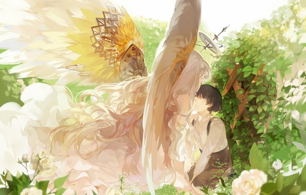 Picture leaves, girl, flowers, roses, wings, angel, anime, art, guy, the bushes, halo, nineo