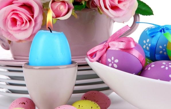 Picture roses, eggs, Easter, pink, flowers, eggs, easter, roses, candle, serving, pastel