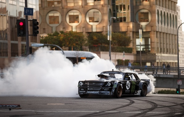 Picture Mustang, Ford, Front, 1965, RTR, Smoke, Block, Ken, Gymkhana, Drifting, Hoonicorn, SEVEN, 845 hp