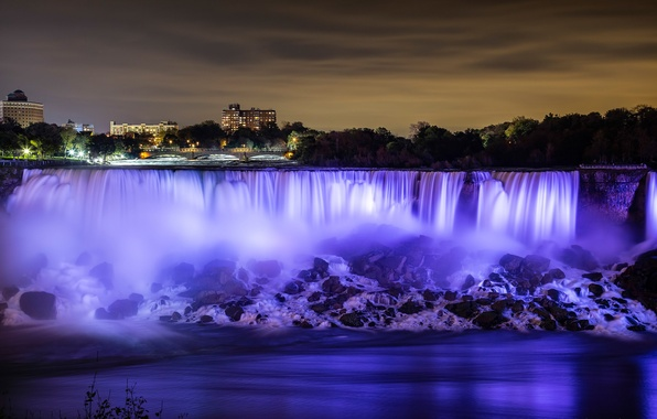 Picture the sky, night, lights, river, home, Niagara falls