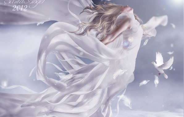Picture the sky, girl, clouds, flight, birds, white, wings, angel, feathers, blonde, pigeons