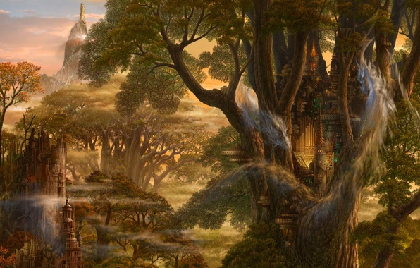 Picture trees, castle, fiction, dragon, fantasy, Art, ucchiey, if kazama uchio