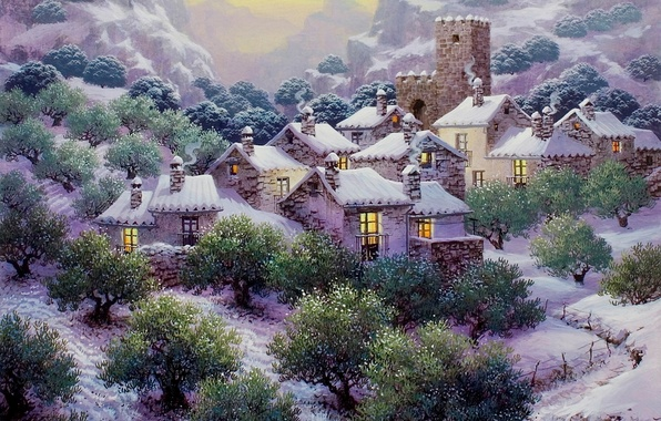 Picture snow, trees, mountains, houses, painting, snow, painting, plantation, Snow in the Olive Grove, Luis Romero, …