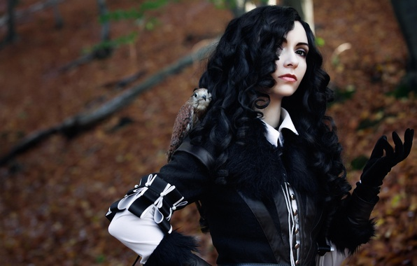 Picture look, girl, costume, black hair, cosplay, The Witcher 3, Yennefer, Yennifer