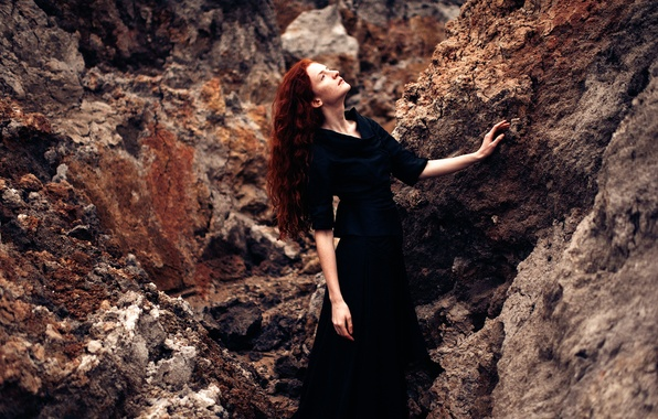 Picture girl, stones, dress, in black
