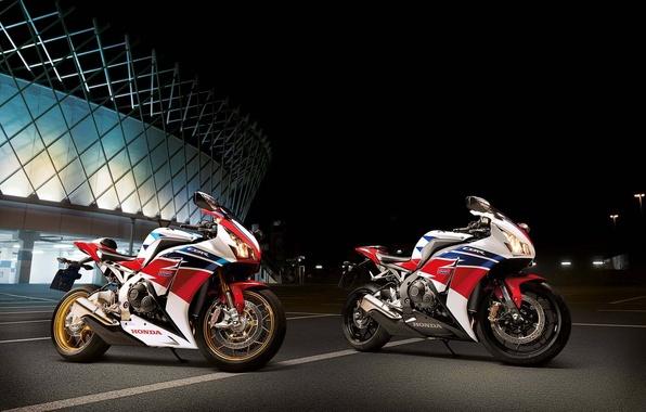 Picture white, night, motorcycle, white, honda, Honda, cbr1000rr