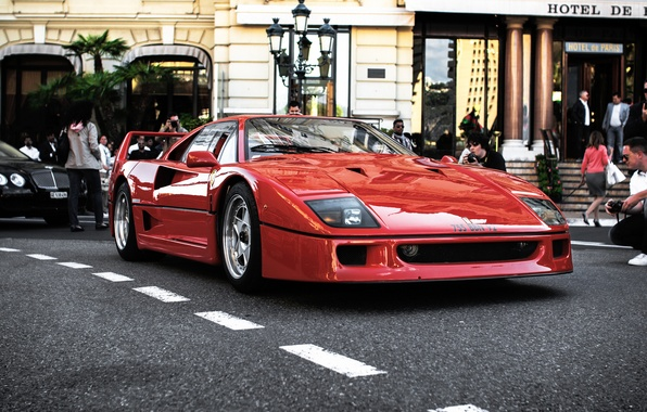 Photo wallpaper red, people, black, Ferrari, red, bentley, the hotel, Ferrari, black, people, Bentley, hotel, f40, F40