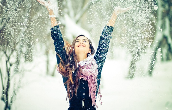 Picture winter, girl, snow, mood