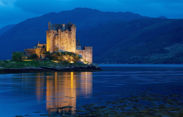 Picture water, light, mountains, night, castle, hills, Scotland, backlight, UK, Scotland, United Kingdom, blue hour, Dornie