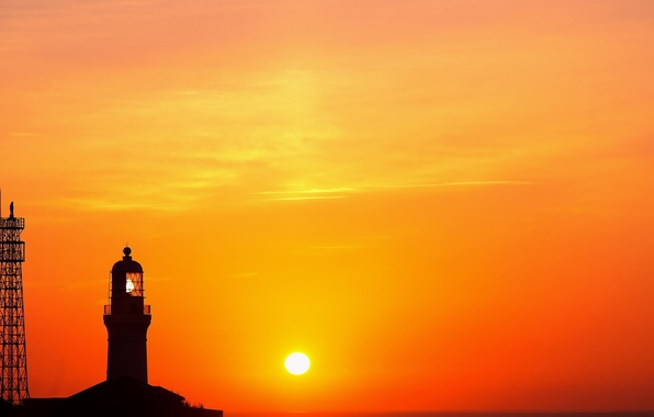 Picture the sky, the sun, clouds, Lighthouse, tower