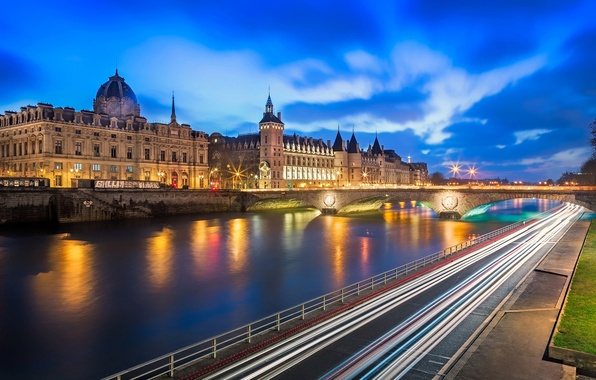 Picture road, bridge, the city, lights, river, castle, France, Paris, the evening, excerpt, Paris, France, The ...