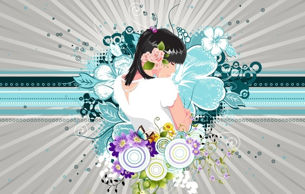 Picture girl, flowers, Vector