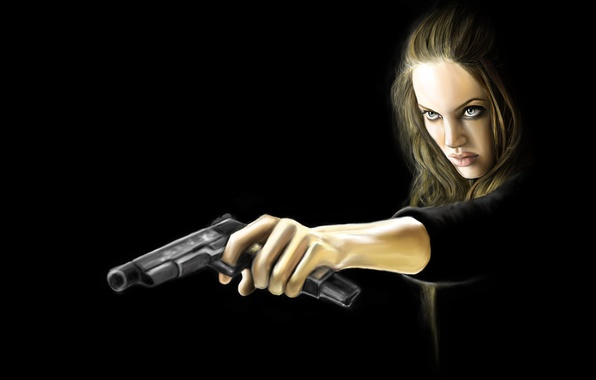 Picture girl, weapons, Angelina Jolie, Angelina Jolie, Wanted, especially dangerous