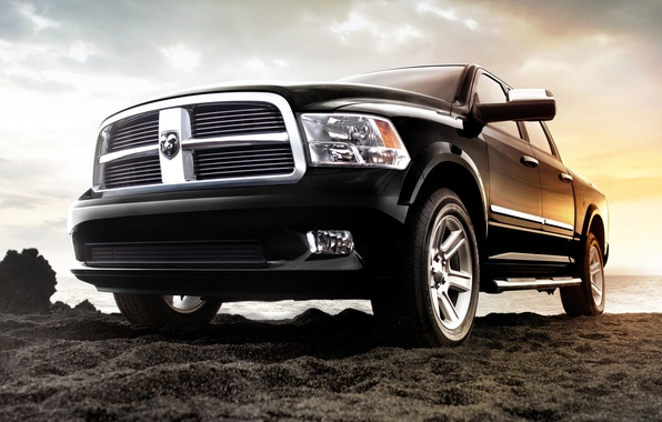 Picture sand, the sky, shore, jeep, SUV, Dodge, pickup, dodge, the front, 1500, laraman limited, Ram, ...