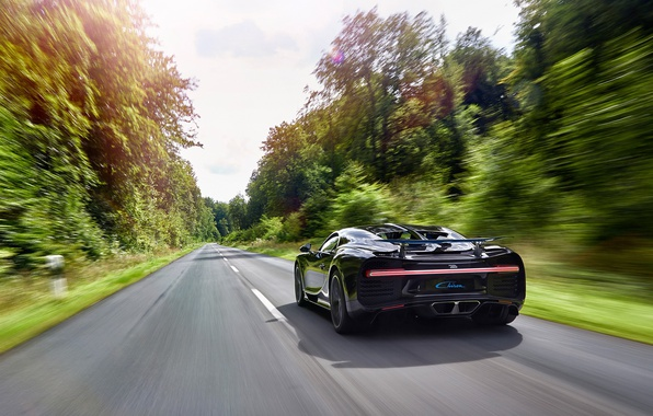 Picture car, Bugatti, logo, supercar, speed, asphalt, vegetation, Chiron, Bugatti Chiron