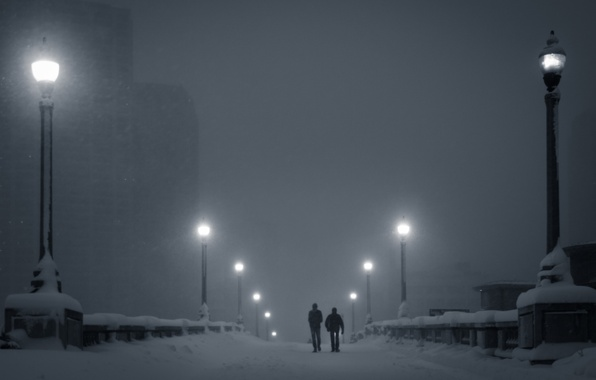 Picture winter, snow, night, lights, fog, people, home, lights