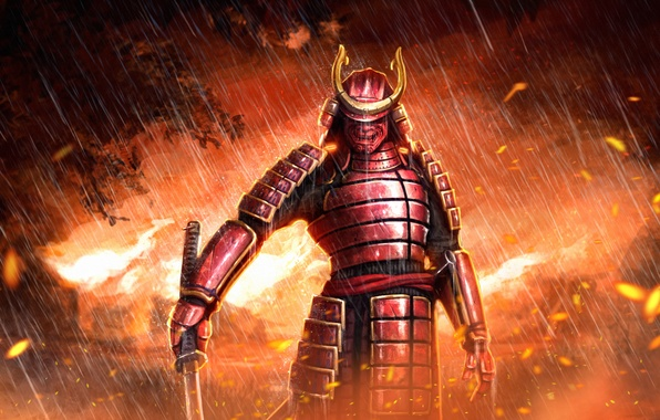 Picture rain, fire, sword, katana, mask, samurai, armor