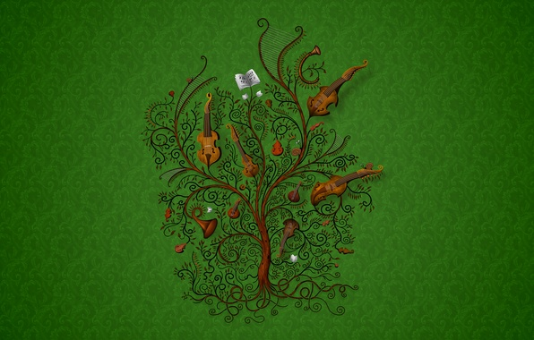 Picture music, tree, Green, instrumento