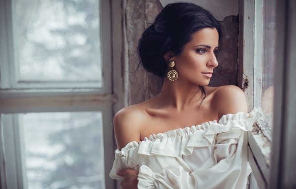 Picture look, model, Girl, the situation, earrings, window, profile