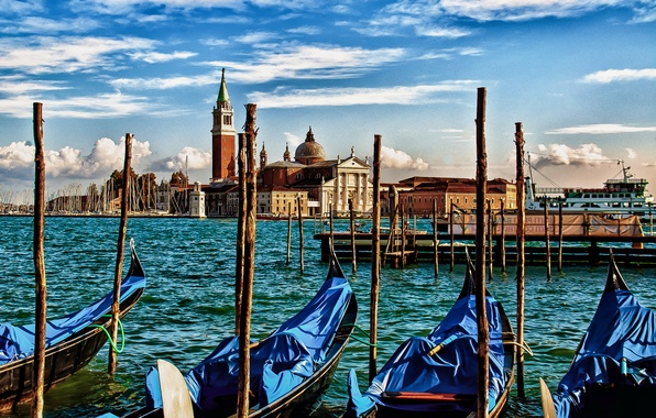 Picture sea, boat, Italy, Venice, channel, Parking, gondola