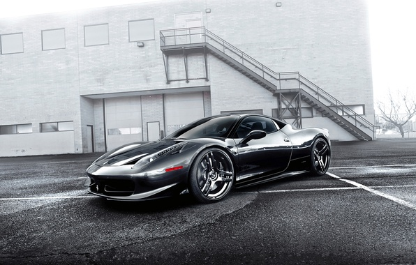 Picture grey, the building, ladder, ferrari, Ferrari, front view, grey, Italy, 458 italia, building