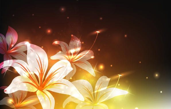 Photo wallpaper Flowers, glare, light, Lily