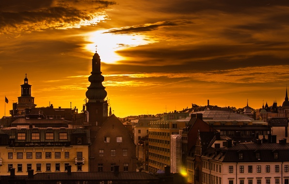 Picture the sky, the sun, light, the city, dawn, building, home, morning, roof, Stockholm, Sweden, Sverige, …