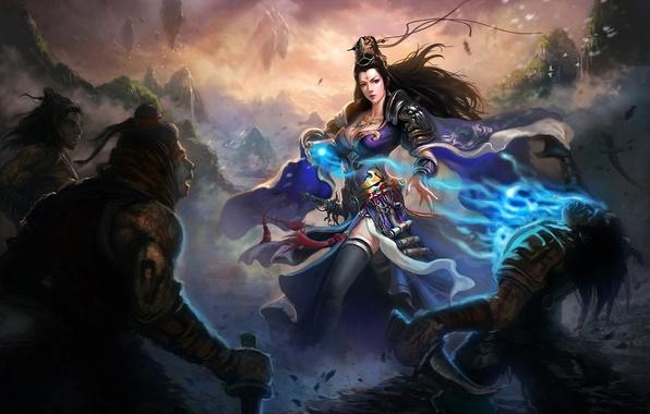 Picture girl, weapons, magic, war, art, knife, attack, men, Liang xing