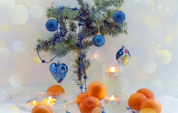 Picture branches, blue, table, holiday, heart, color, tree, new year, fruit, happy new year, Christmas decorations, …