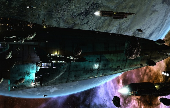 Picture space, future, planet, ships, stars, asteroids, space, stars, sci-fi, planet, invasion, ships, science fiction, futuristic …