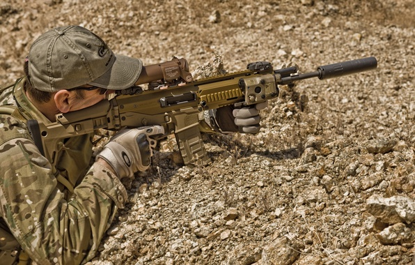 Picture machine, sight, muffler, Special forces, adaptive combat rifle, acr