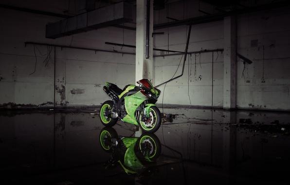 Picture reflection, green, lights, motorcycle, green, yamaha, bike, Yamaha, yzf-r1