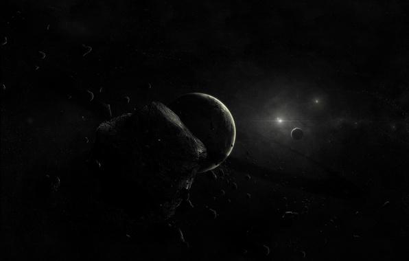 Picture planet, Black, asteroids