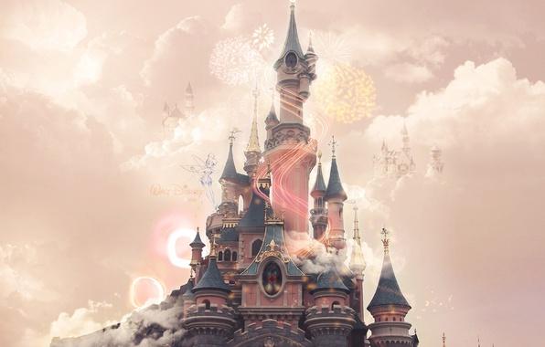 Photo Wallpaper Pink Castle Disneyland Clouds Disney