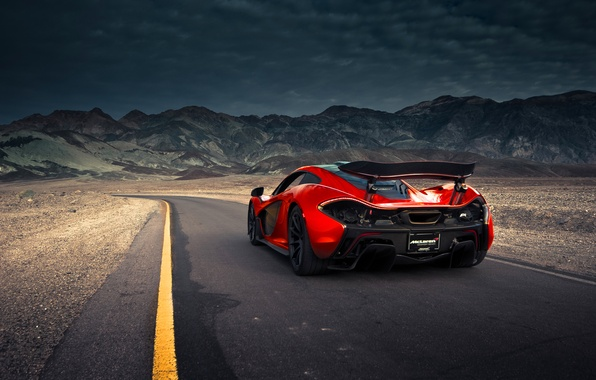 Picture McLaren, Orange, Front, Death, Sand, Road, Supercar, Valley, Spoiler, Hypercar, Exotic, Rear, Volcano, Extra, Terrestrial