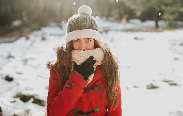Picture winter, girl, face, hat, coat, Miriam