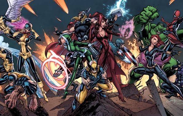 Picture Hulk, X-Men, wolverine, Rogue, Captain America, Angel, Thor, iron man, Black Widow, Beast, jean grey, …