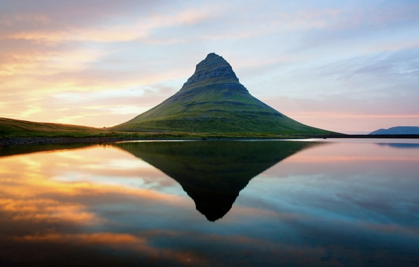 Picture the sky, water, sunset, reflection, mountain, Iceland, Scandinavia, extinct volcano, Kirkjufell