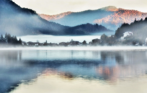 Photo wallpaper fog, lake, mountains