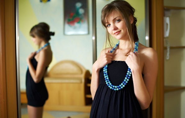 Picture look, girl, smile, picture, dress, mirror, beads, brown hair, curls, amelie