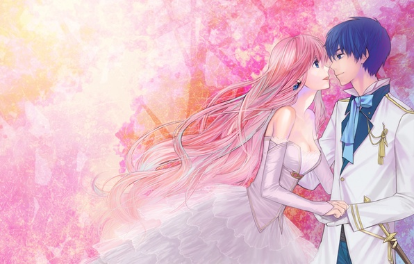 Picture girl, abstraction, art, pair, guy, vocaloid, megurine luka, kaito, aishiro22
