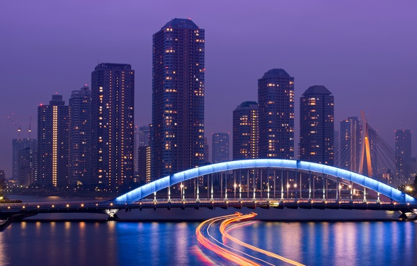 Picture the sky, night, bridge, lights, river, skyscrapers, excerpt, Japan, backlight, Tokyo, megapolis, capital, lilac