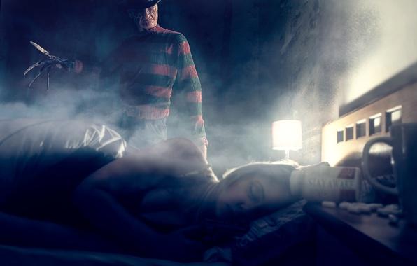 Picture girl, room, sleep, Freddy Krueger, Freddy Krueger