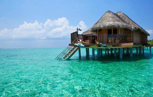 Picture sea, the sky, clouds, landscape, stay, Paradise, house, Laguna, Bungalow, piles