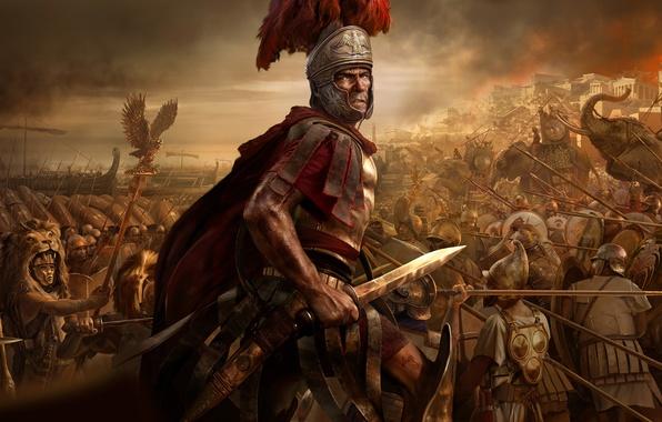Picture the sky, fire, flame, war, sword, soldiers, helmet, battle, cloak, mask, elephants, shields, spears, sheath, …